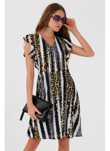 835bae6e85621 Jument Cobe Empirme V Yaka Kolları Volanlı Kiloş Elbise Sarı ...